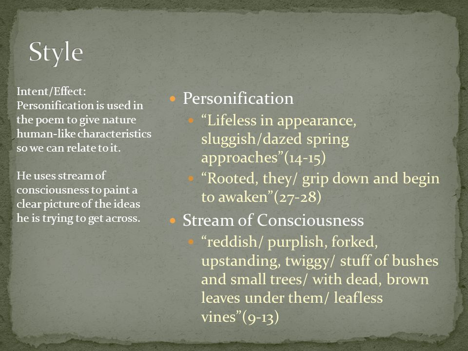 Style Personification Stream of Consciousness