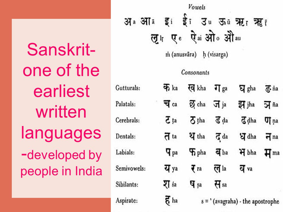 Sanskrit- one of the earliest written languages -developed by people in India