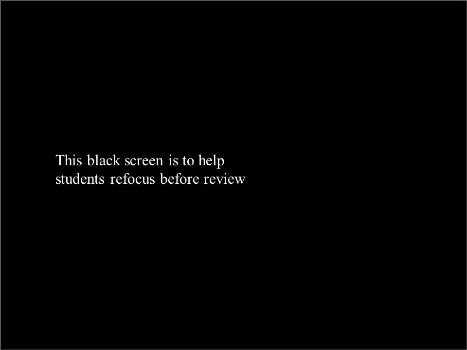 This black screen is to help students refocus before review