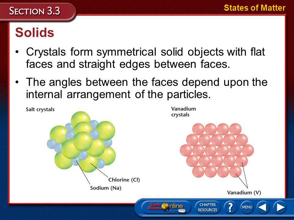 States of Matter Solids. Crystals form symmetrical solid objects with flat faces and straight edges between faces.