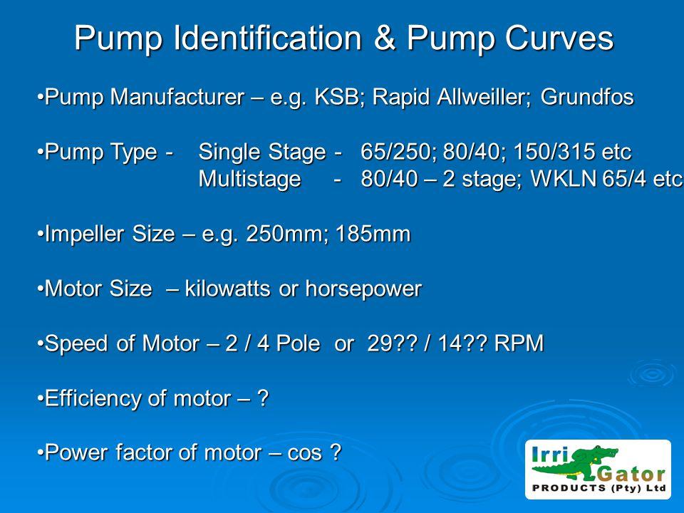 Pump Identification & Pump Curves