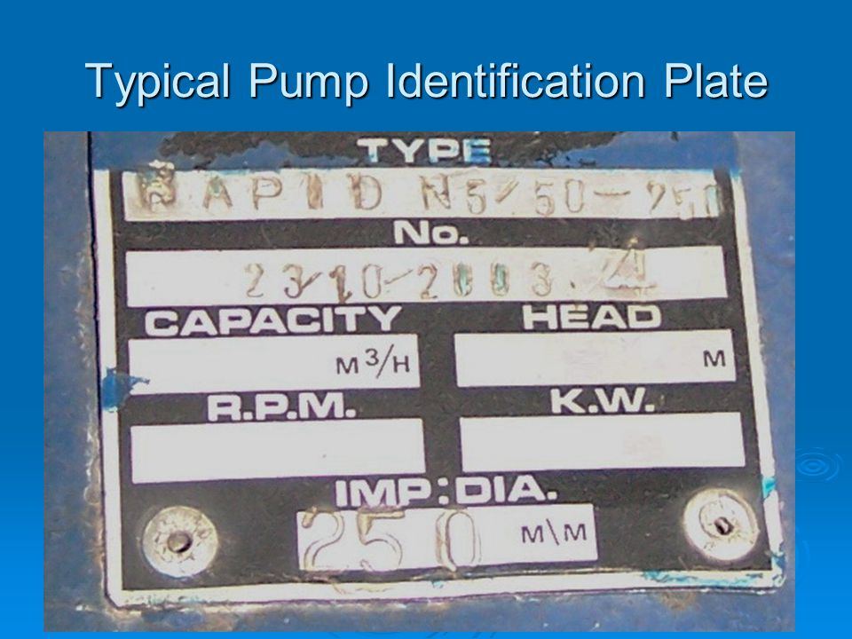 Typical Pump Identification Plate