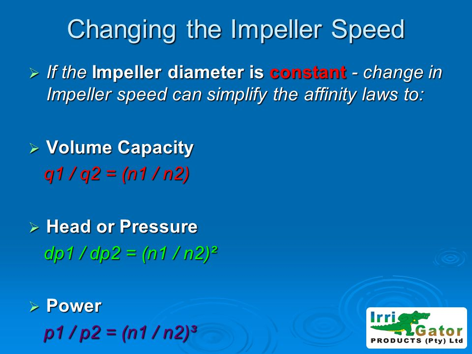 Changing the Impeller Speed