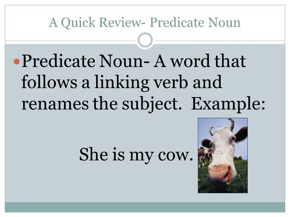 A Quick Review- Predicate Noun