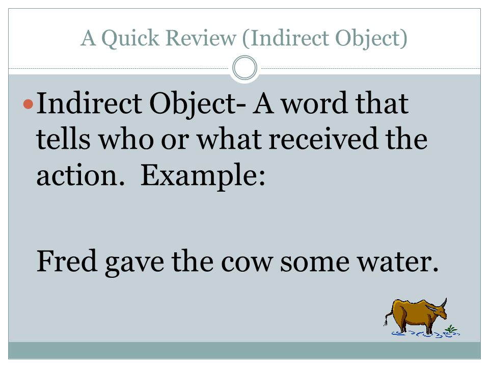 A Quick Review (Indirect Object)