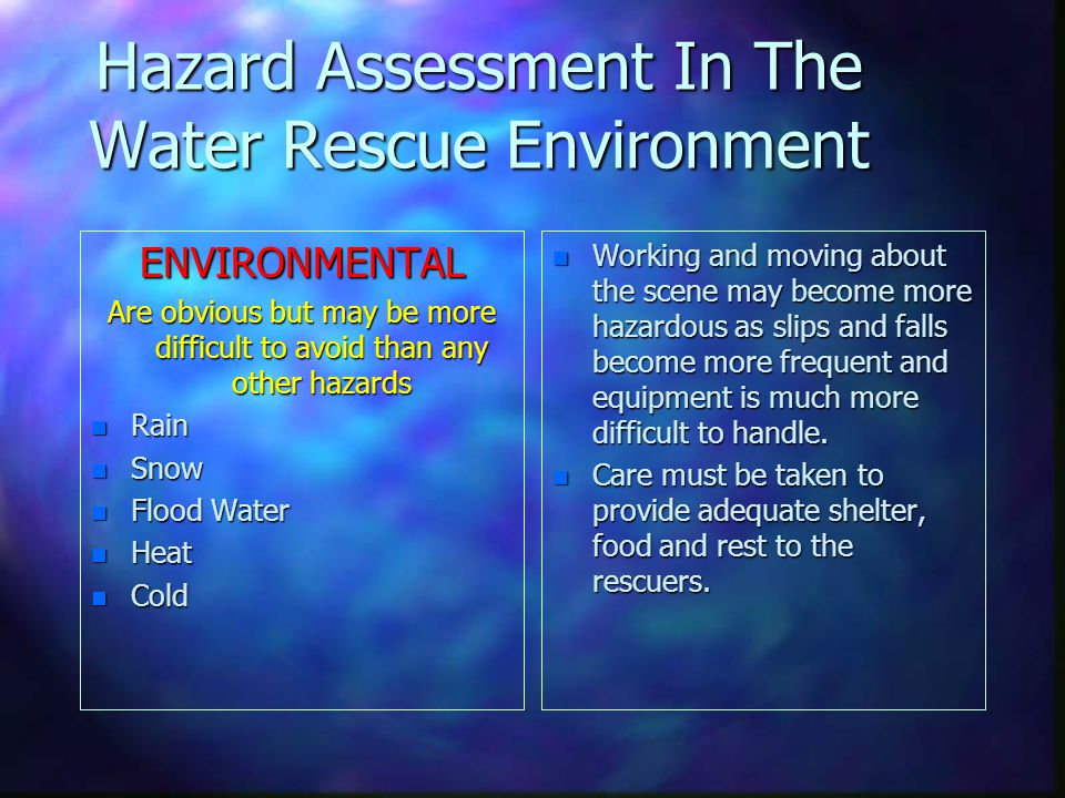 Hazard Assessment In The Water Rescue Environment