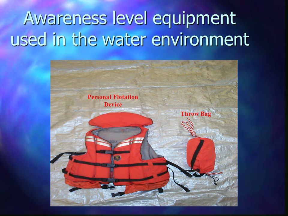 Awareness level equipment used in the water environment