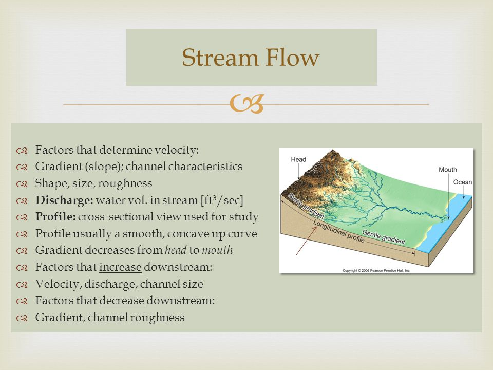 Stream Flow Factors that determine velocity: