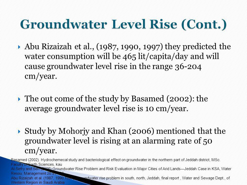 Groundwater Level Rise (Cont.)