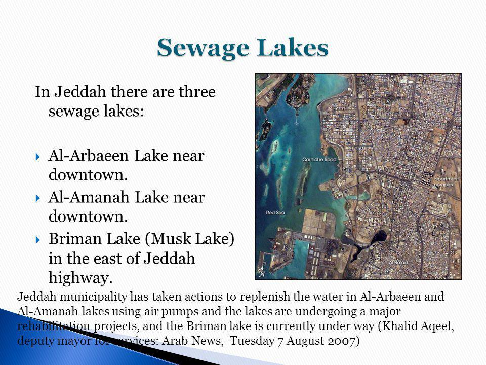 Sewage Lakes In Jeddah there are three sewage lakes: