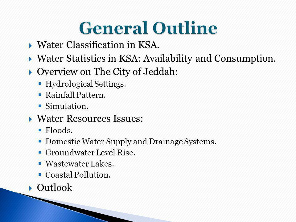 General Outline Water Classification in KSA.
