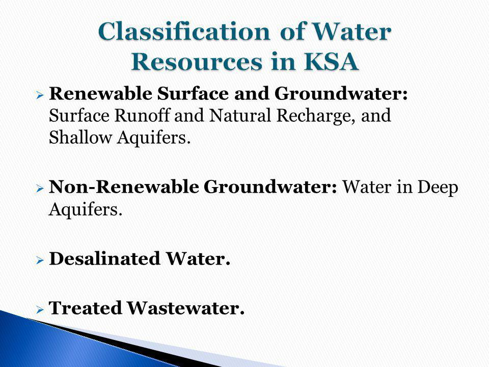 Classification of Water Resources in KSA