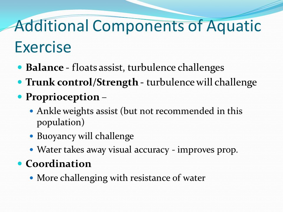 Additional Components of Aquatic Exercise