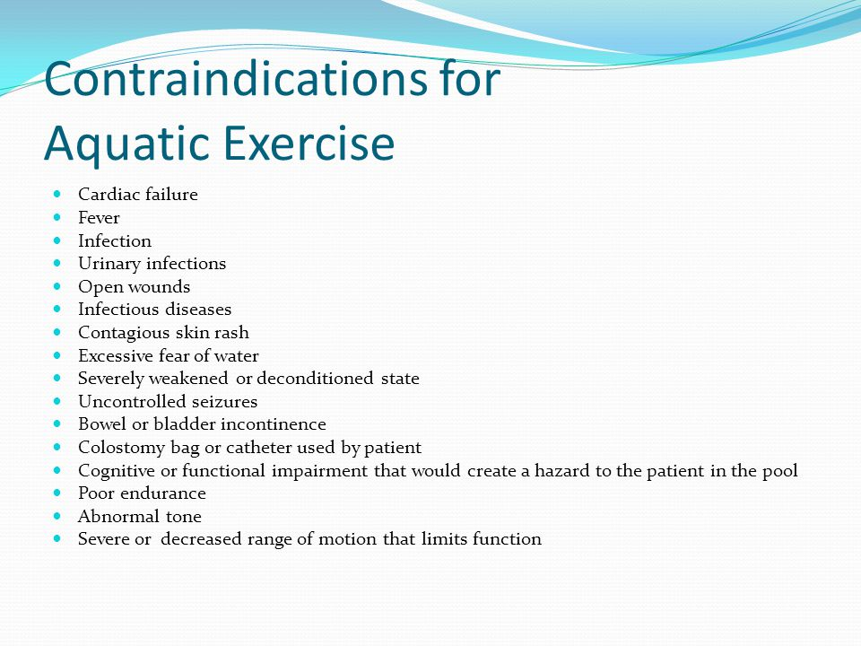 Contraindications for Aquatic Exercise