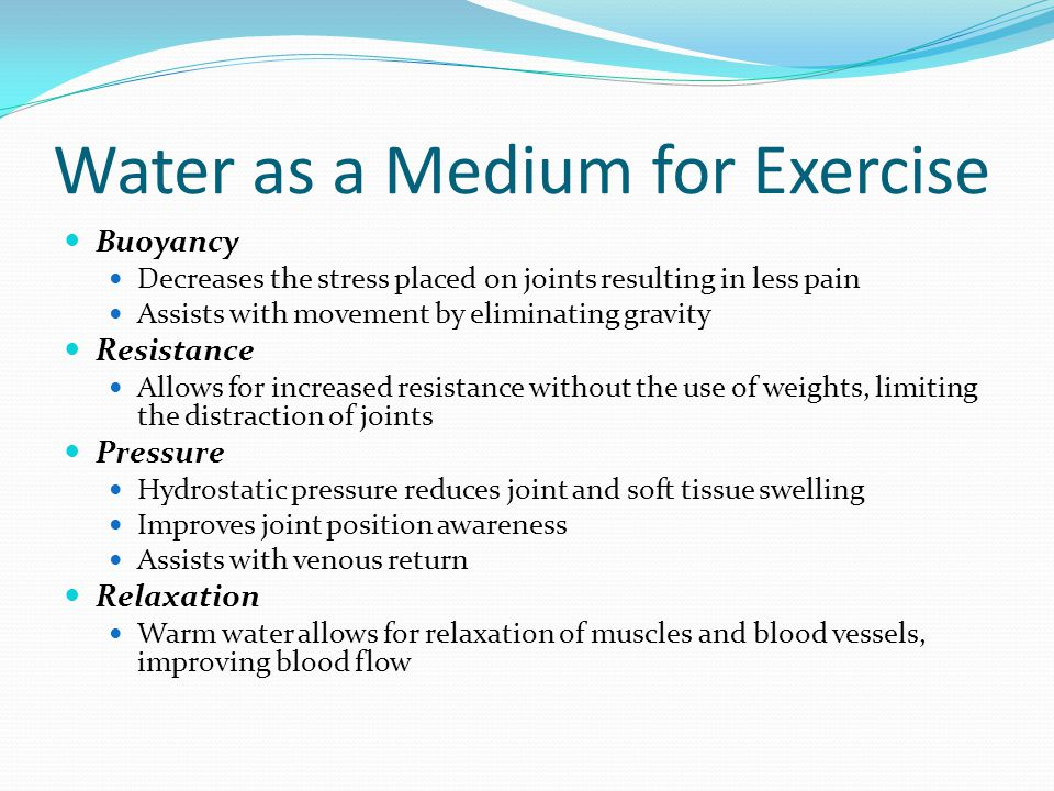 Water as a Medium for Exercise