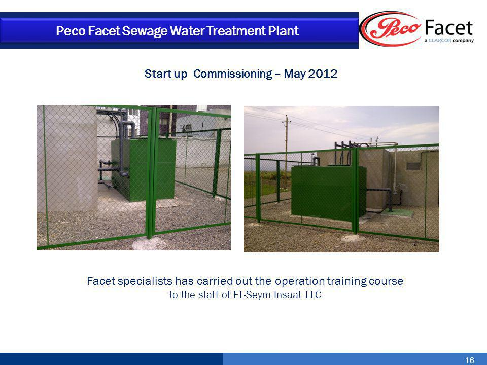 Start up Commissioning – May 2012