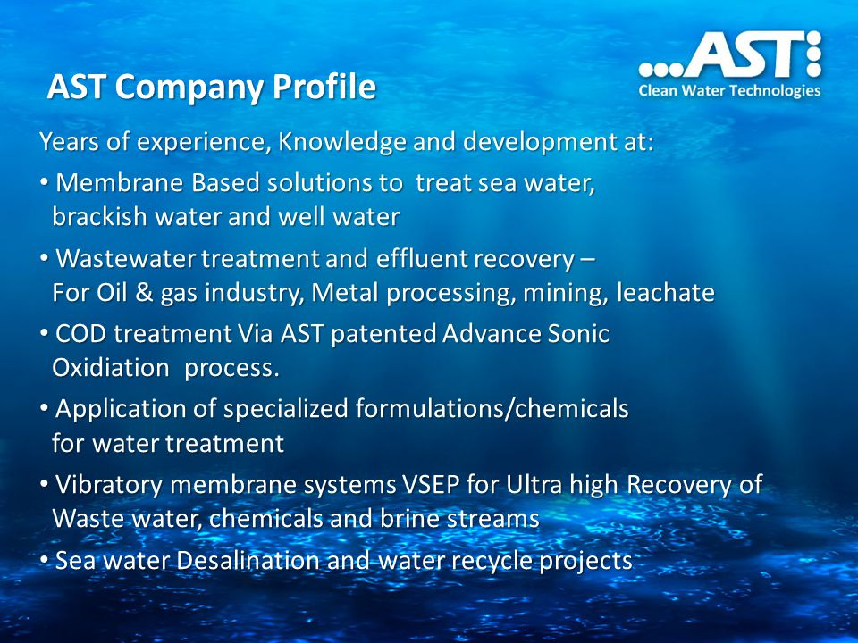 AST Company Profile Years of experience, Knowledge and development at: