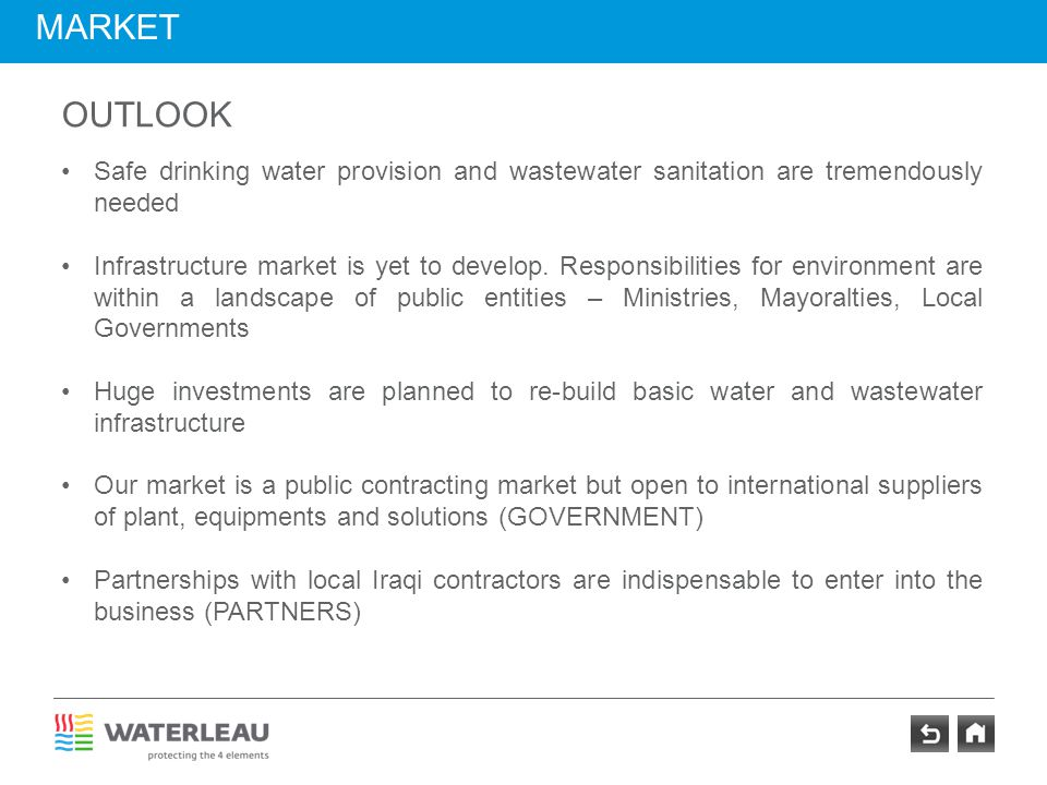 market outlook. Safe drinking water provision and wastewater sanitation are tremendously needed.