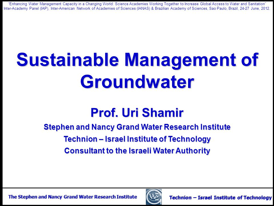 Sustainable Management of Groundwater