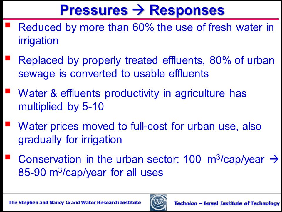 Pressures  Responses Reduced by more than 60% the use of fresh water in irrigation.