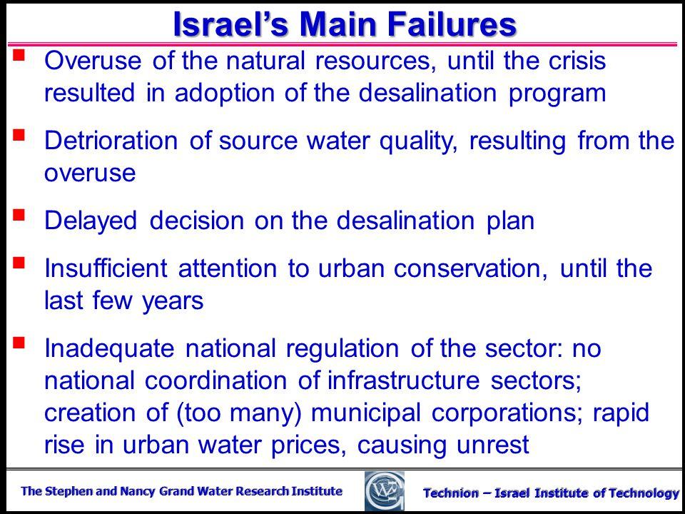 Israel's Main Failures