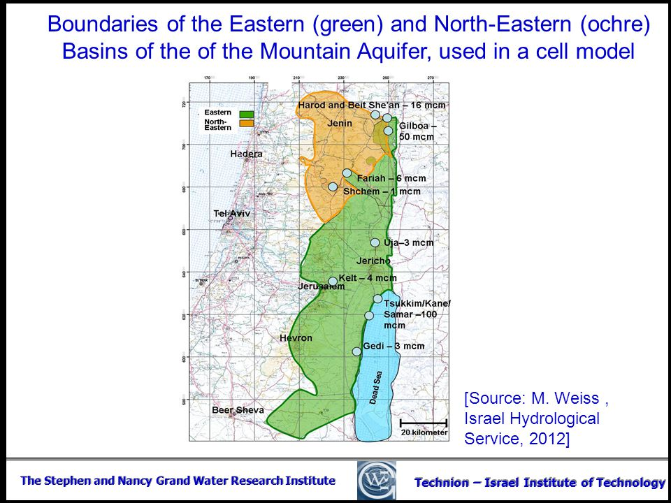 Boundaries of the Eastern (green) and North-Eastern (ochre) Basins of the of the Mountain Aquifer, used in a cell model