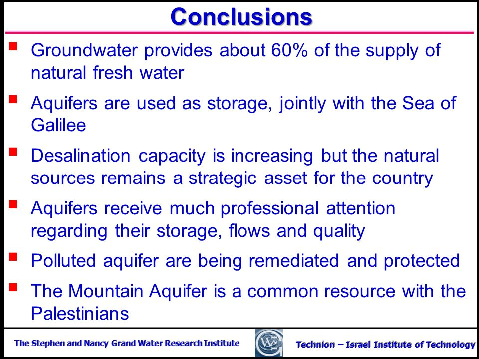Conclusions Groundwater provides about 60% of the supply of natural fresh water. Aquifers are used as storage, jointly with the Sea of Galilee.