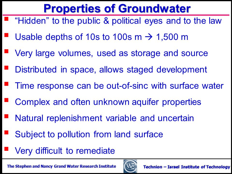 Properties of Groundwater