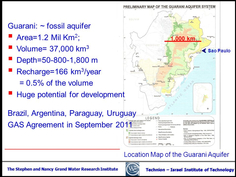Location Map of the Guarani Aquifer