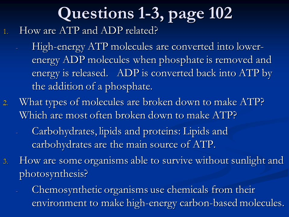 Questions 1-3, page 102 How are ATP and ADP related