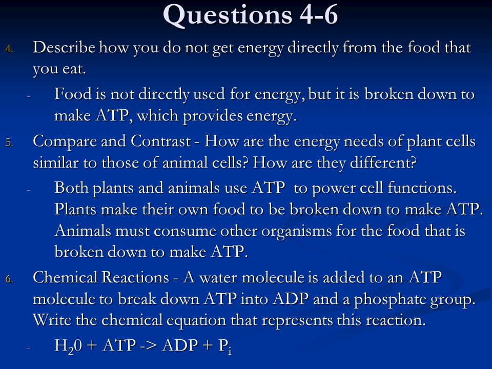 Questions 4-6 Describe how you do not get energy directly from the food that you eat.