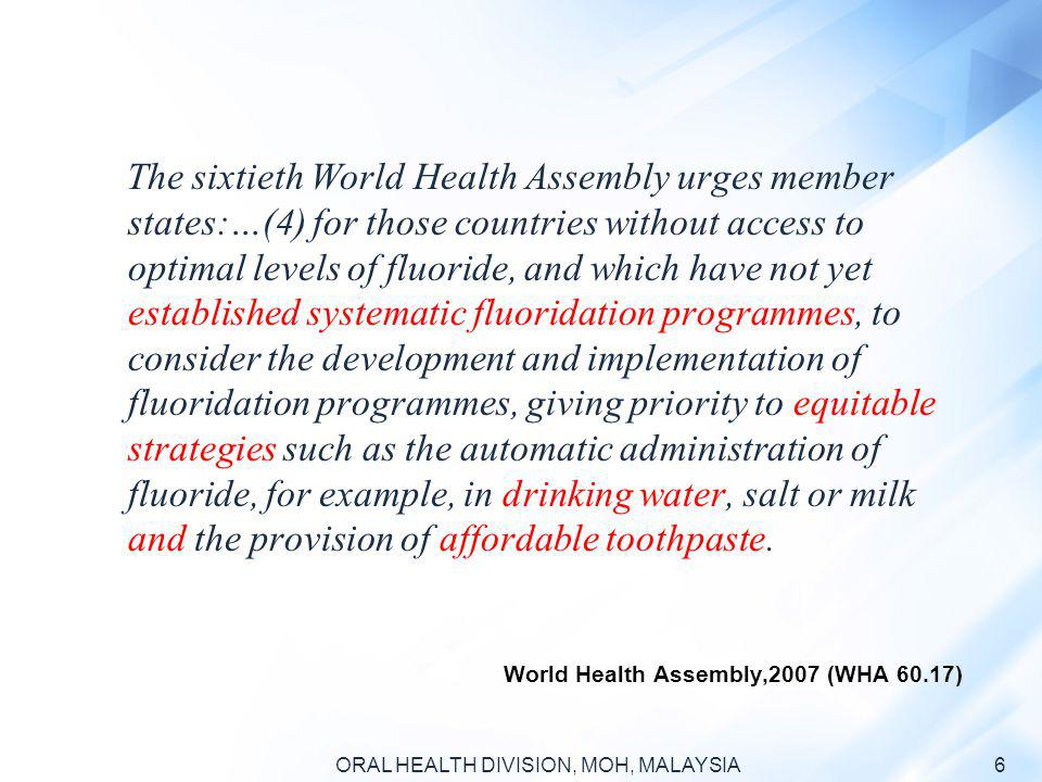 World Health Assembly,2007 (WHA 60.17)