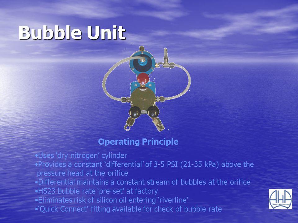 Bubble Unit Operating Principle Uses 'dry nitrogen' cylinder