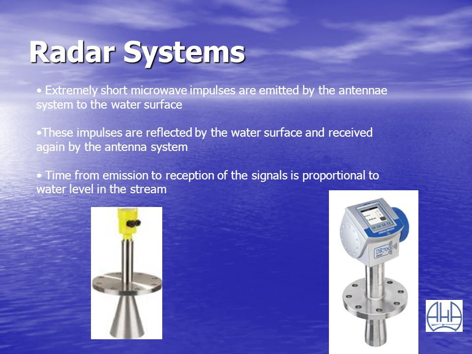Radar Systems Extremely short microwave impulses are emitted by the antennae system to the water surface.