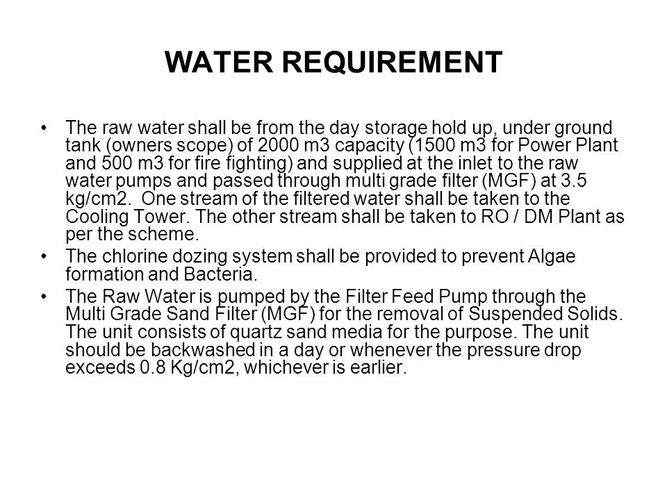 WATER REQUIREMENT