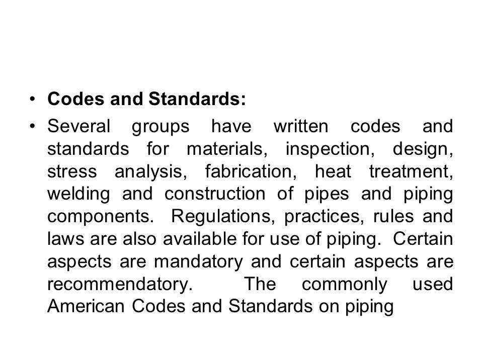 Codes and Standards: