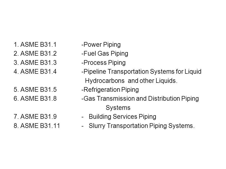 1. ASME B31.1 -Power Piping 2. ASME B31.2 -Fuel Gas Piping. 3. ASME B31.3 -Process Piping.