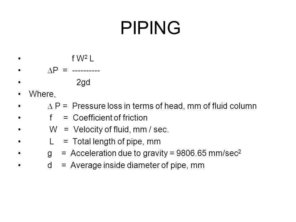 PIPING f W2 L P = ---------- 2gd Where,