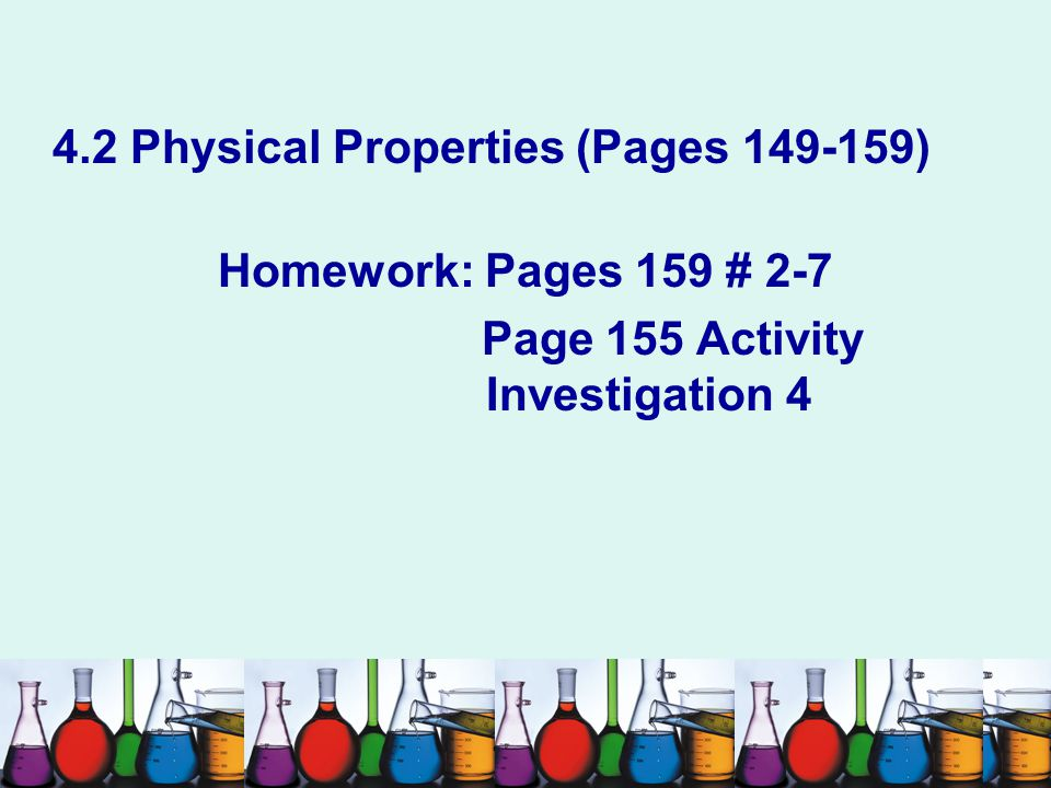 4.2 Physical Properties (Pages 149-159)