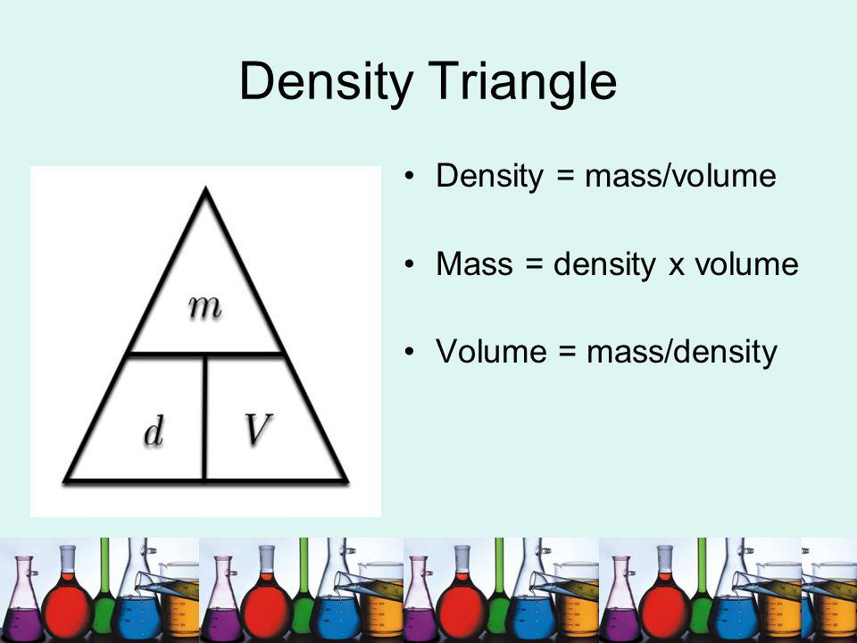 Density Triangle Density = mass/volume Mass = density x volume
