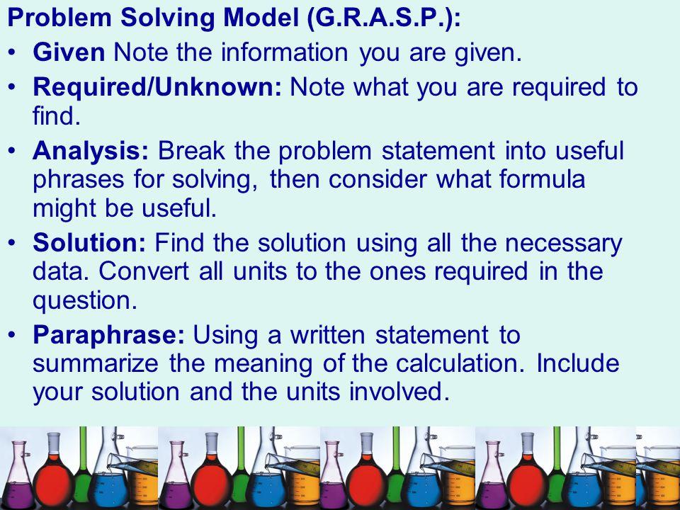Problem Solving Model (G.R.A.S.P.):