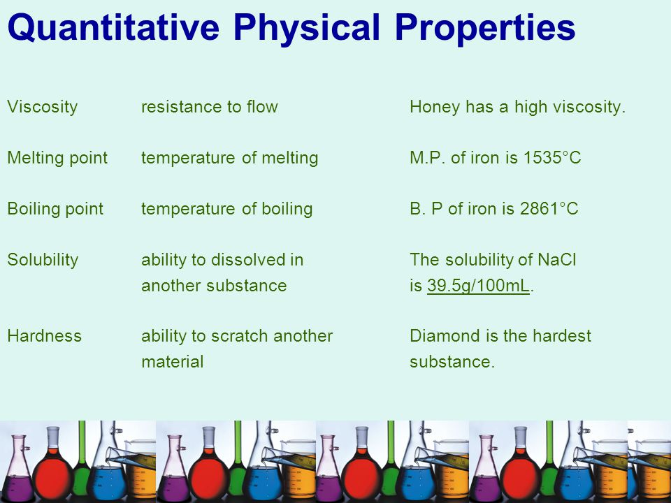 Quantitative Physical Properties