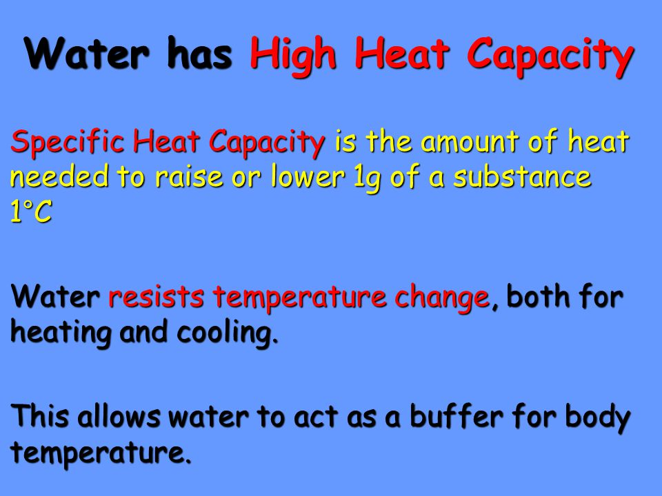 Water has High Heat Capacity