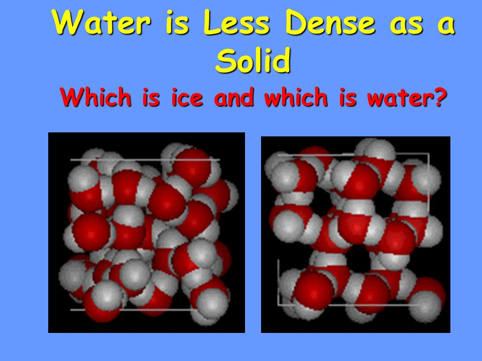 Which is ice and which is water