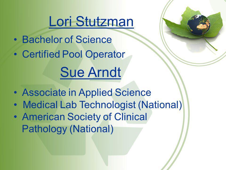 Lori Stutzman Sue Arndt Bachelor of Science Certified Pool Operator