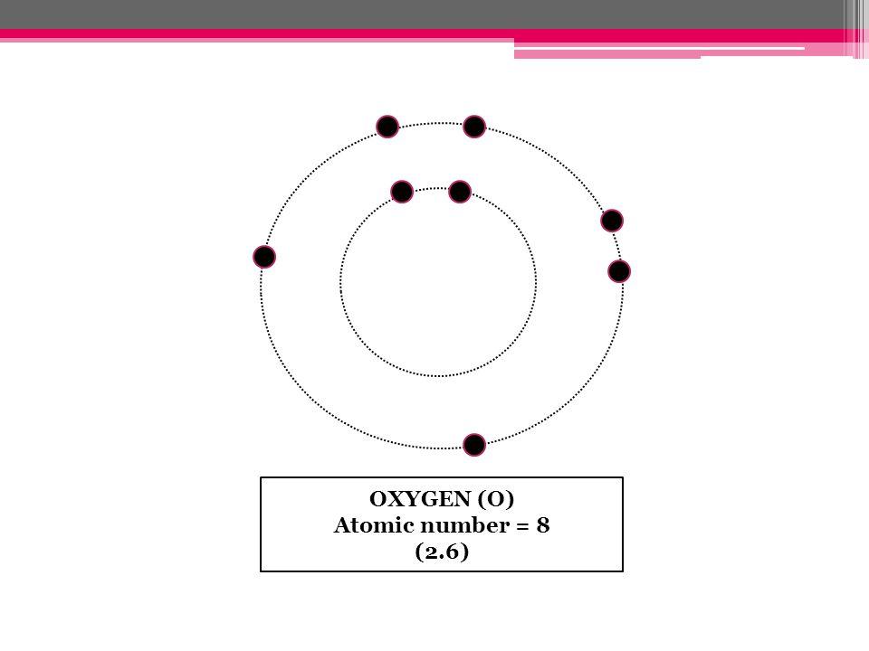 OXYGEN (O) Atomic number = 8 (2.6)