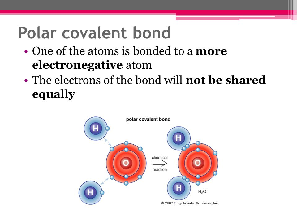 Polar covalent bond One of the atoms is bonded to a more electronegative atom.