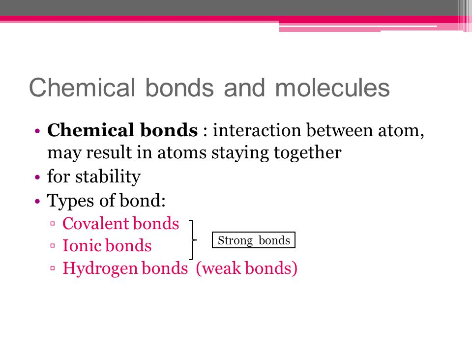 Chemical bonds and molecules