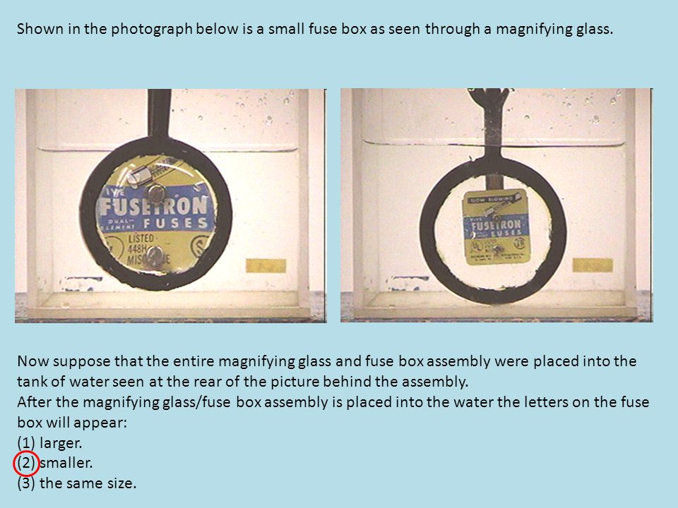 Shown in the photograph below is a small fuse box as seen through a magnifying glass.