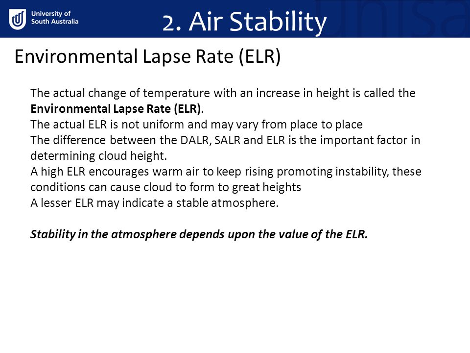 2. Air Stability Environmental Lapse Rate (ELR)